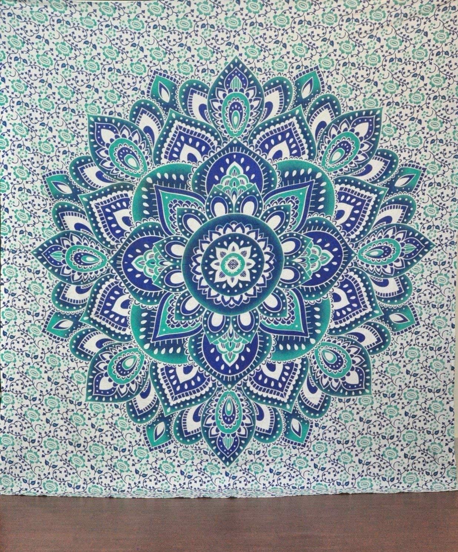 Amazon: Green And Blue Mandala Tapestry Ombre Mandala Wall regarding Mandala Wall Art (Image 3 of 20)