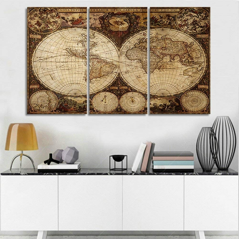 Amazon: H.cozy Vintage Map Art Canvas Prints Wall Art Decor 48 in Vintage Map Wall Art (Image 2 of 20)