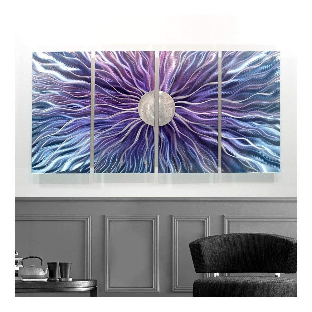 Amazon: Large Blue, Purple, And Silver Metal Wall Art Painting with regard to Modern Abstract Painting Wall Art (Image 9 of 20)