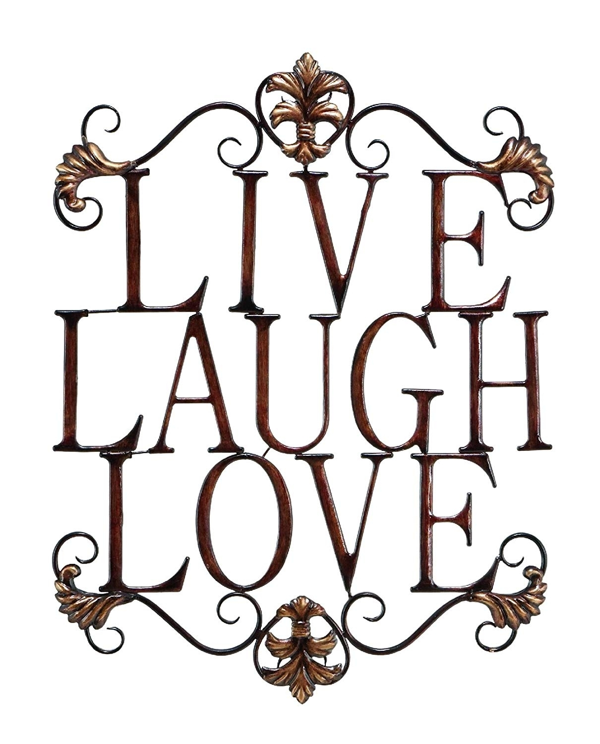 Amazon: Live Laugh Love Modern Abstract Metal Wall Art Home within Metal Scroll Wall Art (Image 3 of 20)