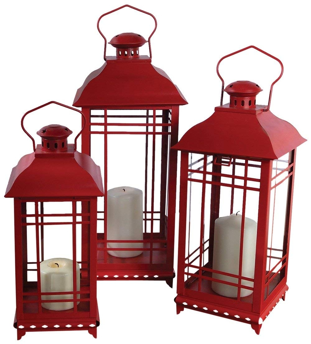 Amazon: Melrose International Metal And Glass Lantern, Red, Set Intended For Set Of 3 Outdoor Lanterns (View 2 of 20)