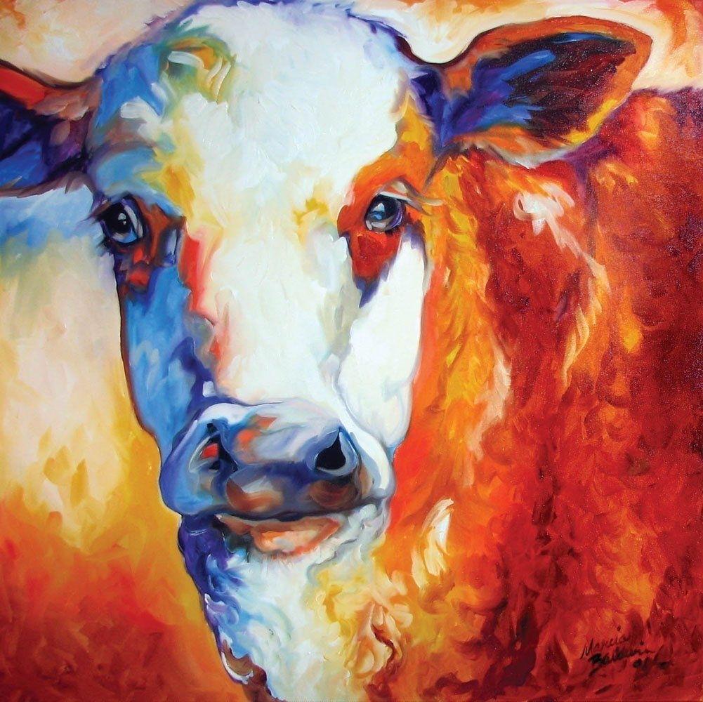 Amazon - Memoo Cow Canvas Wall Art - Prints | Paintings throughout Cow Canvas Wall Art (Image 4 of 20)