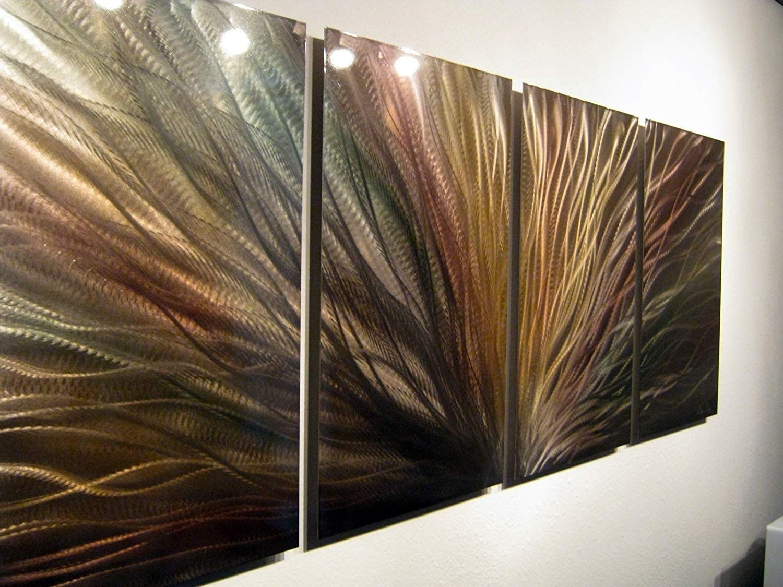 Amazon: Metal Wall Art, Modern Home Decor, Abstract Wall Pertaining To Abstract Metal Wall Art (View 18 of 20)