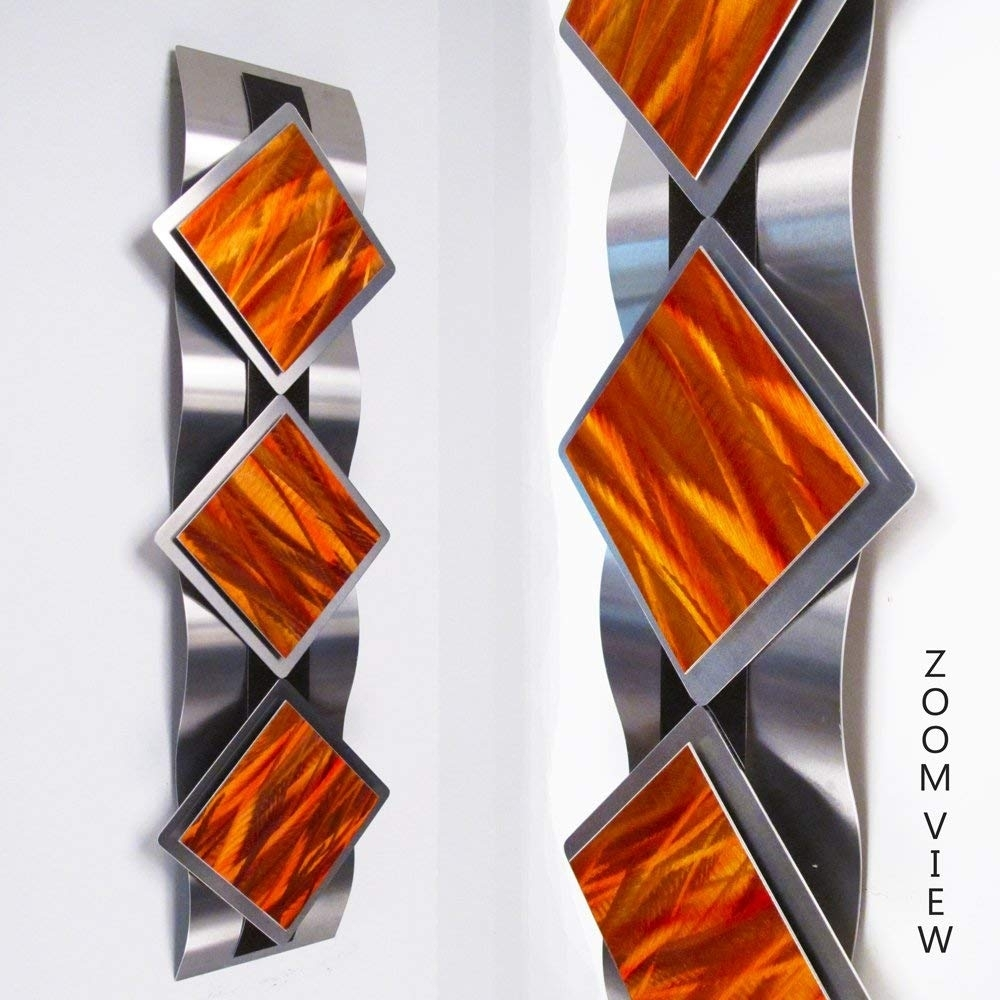 "Amazon: ""mystic Reflections, Inferno"" Modern Abstract Metal Wall For Orange Wall Art (View 6 of 20)"