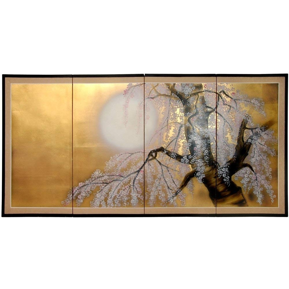 "Amazon - Oriental Furniture 36"" Gold Leaf Sakura Blossom - Wall regarding Asian Wall Art (Image 2 of 20)"