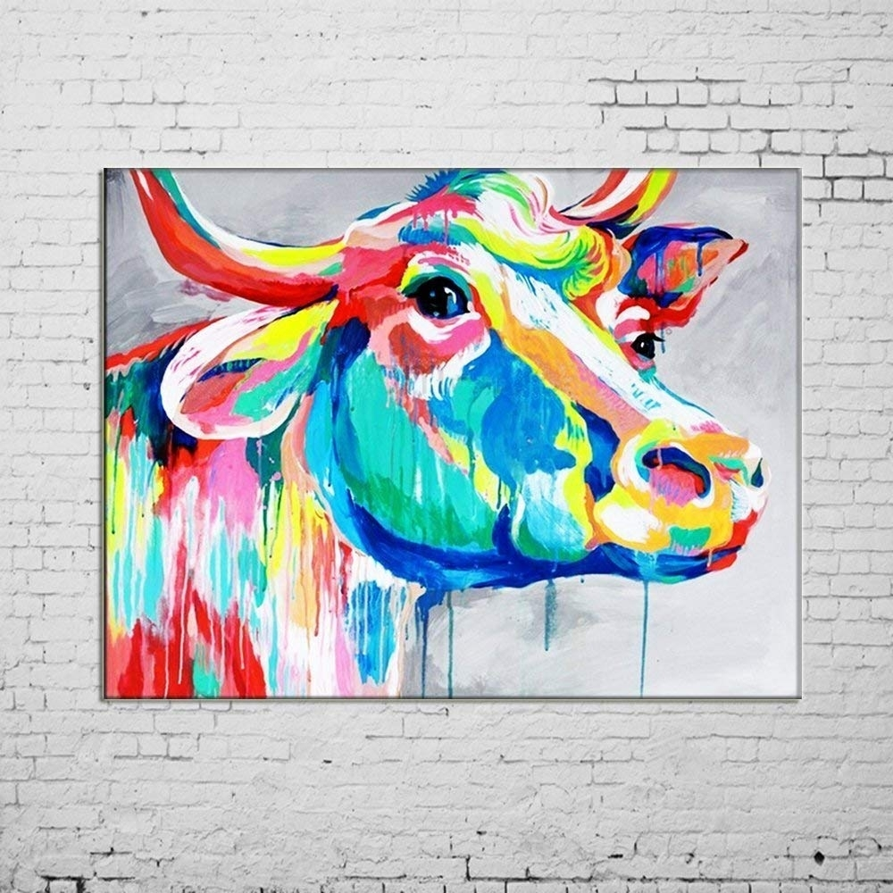 Amazon: Osm Art Hand Painted Animals Oil Painting On Canvas Hang within Cow Canvas Wall Art (Image 6 of 20)