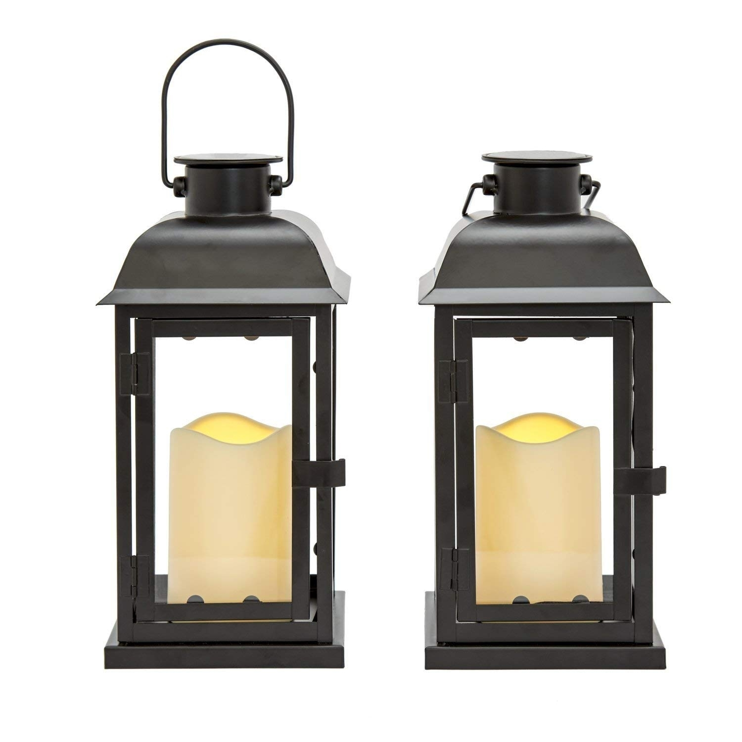 """Amazon : Outdoor Black Solar Candle Lanterns, 11"""" Height, Warm In Resin Outdoor Lanterns (View 4 of 20)"""