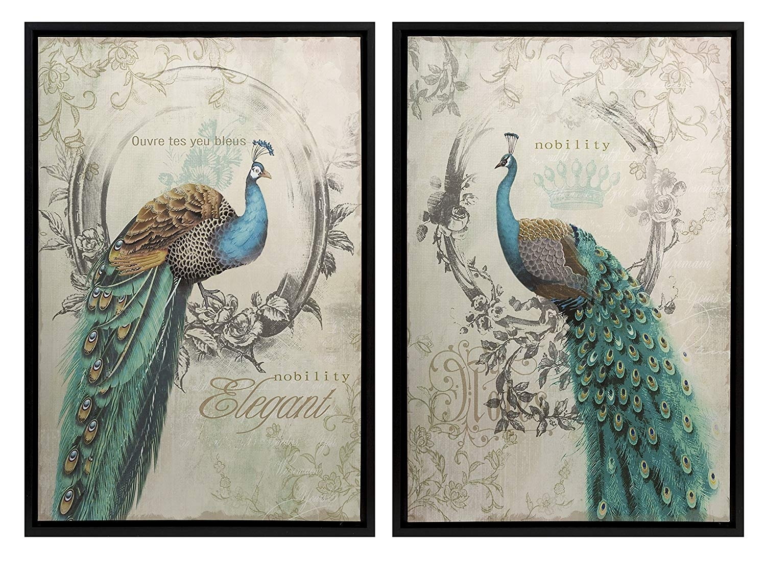 Amazon: Panache Peacock Art – Set Of 2: Wall Decor Stickers Within Canvas Wall Art Sets (View 2 of 20)