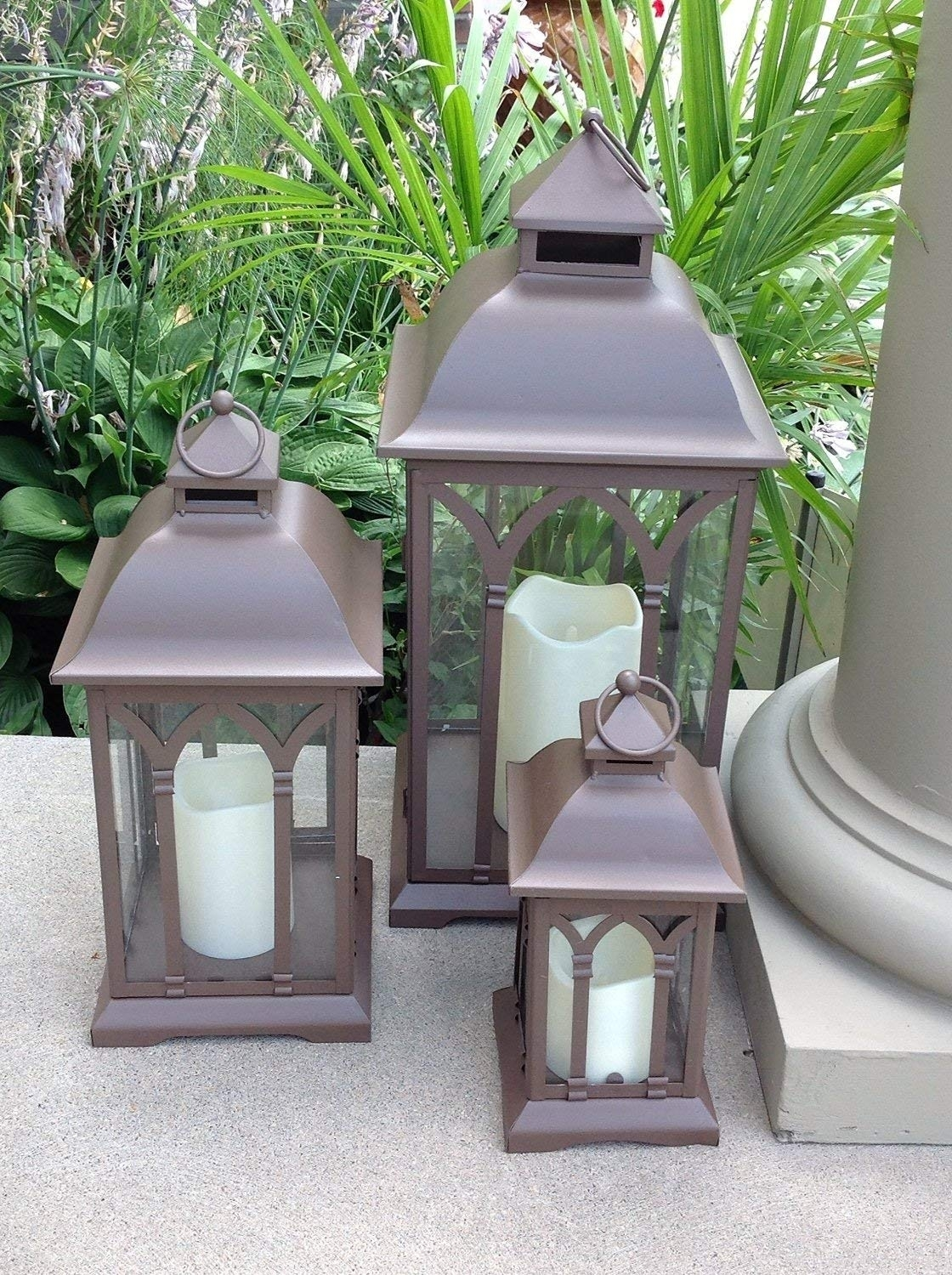 Amazon : Pebble Lane Living 3Pc Set Of Outdoor Large Indoor Or pertaining to Outdoor Lanterns (Image 2 of 20)
