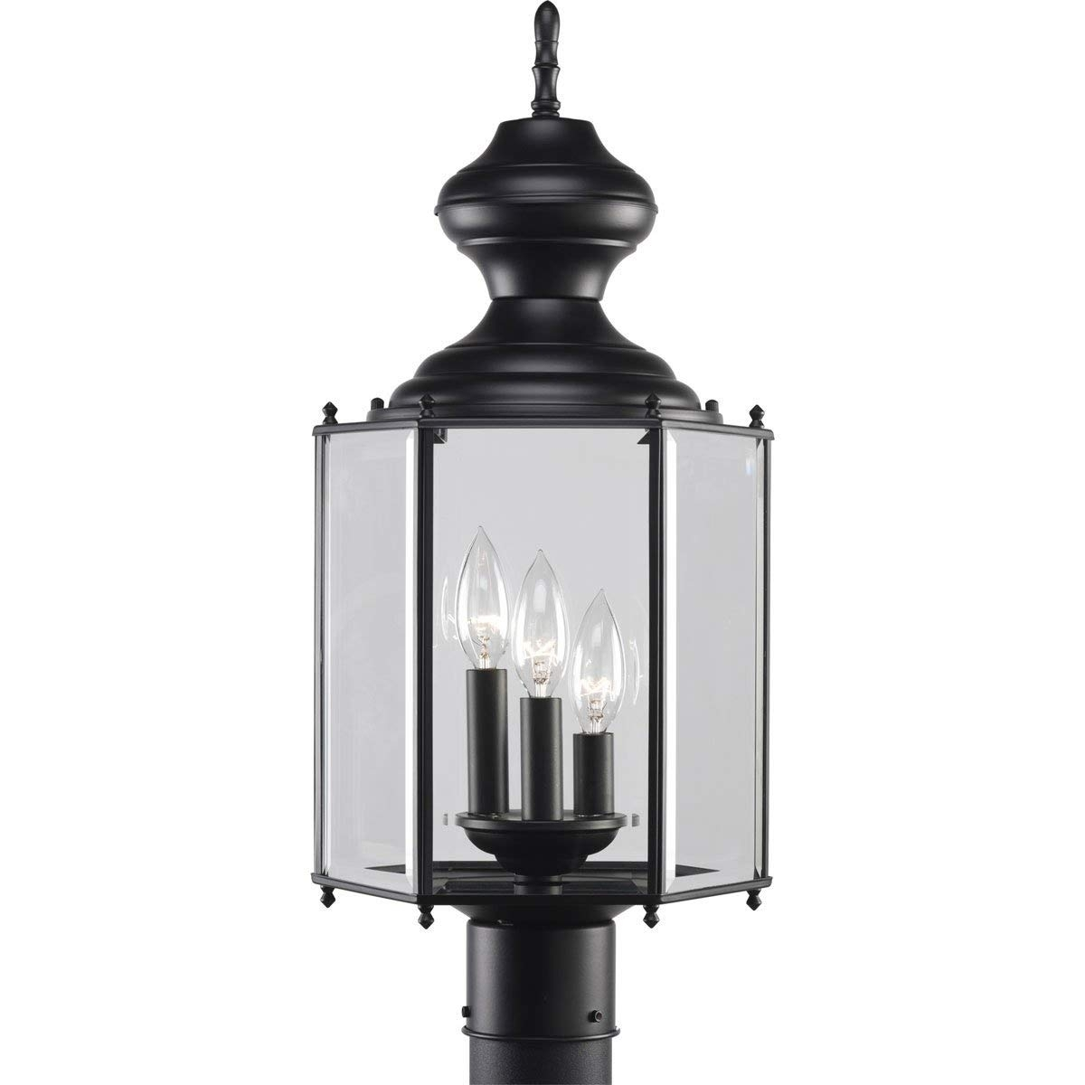 Amazon : Progress Lighting P5432-31 3-Light Post Lantern, Black with Outdoor Lanterns on Post (Image 3 of 20)