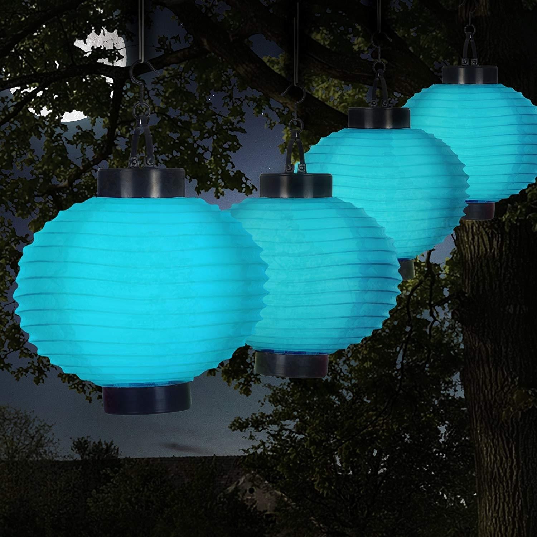 Amazon: Pure Garden 50-19-B Outdoor Solar Chinese Led Lanterns inside Blue Outdoor Lanterns (Image 5 of 20)