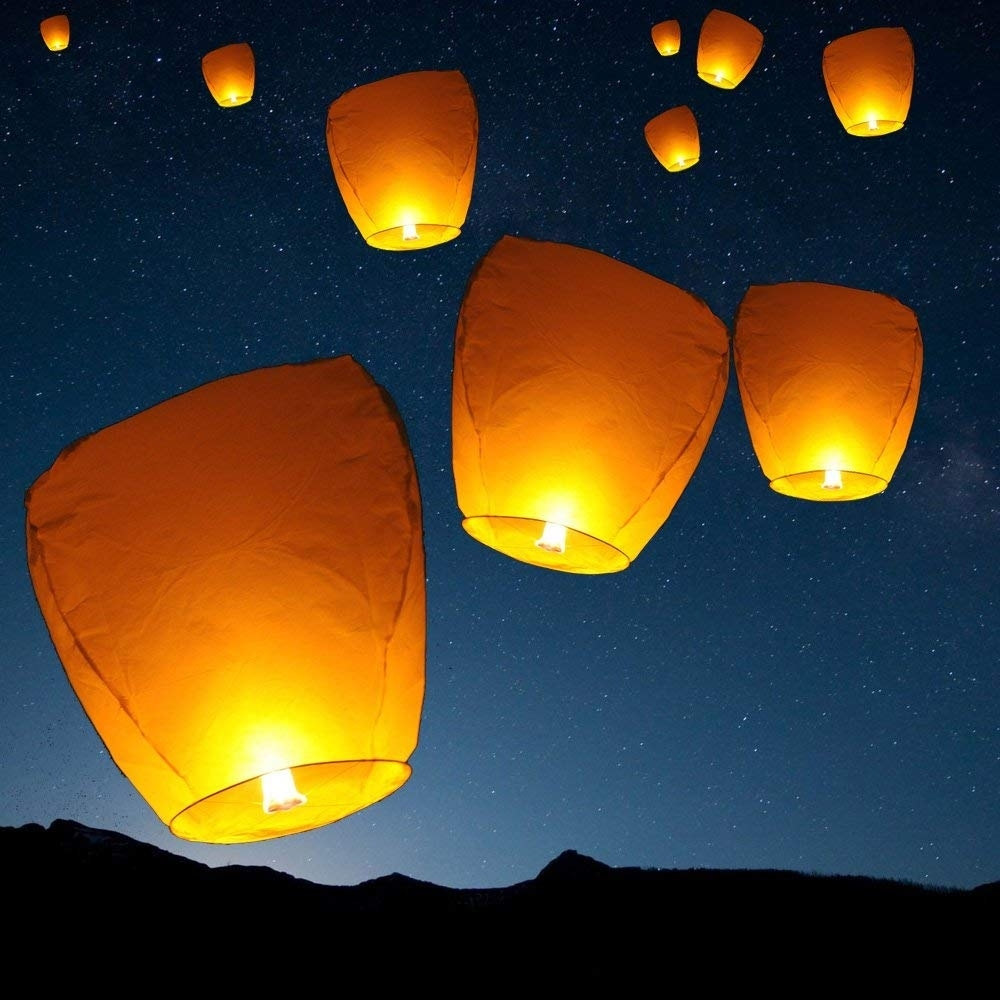 Amazon: Set Of 10 White Sky Lanterns - Chinese Flying Wish regarding Outdoor Memorial Lanterns (Image 8 of 20)