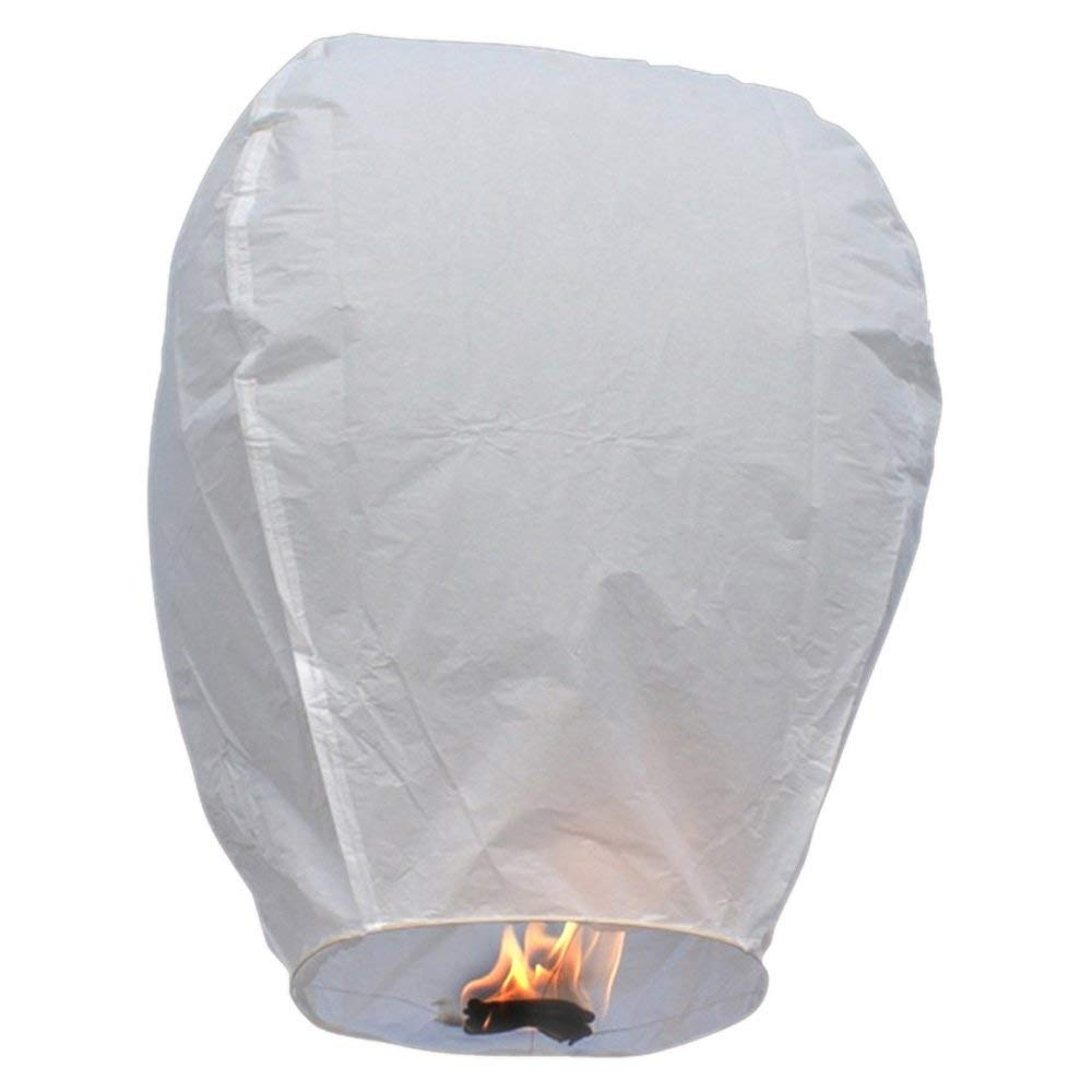 Amazon: Set Of 10 White Sky Lanterns - Chinese Flying Wish throughout Outdoor Memorial Lanterns (Image 9 of 20)