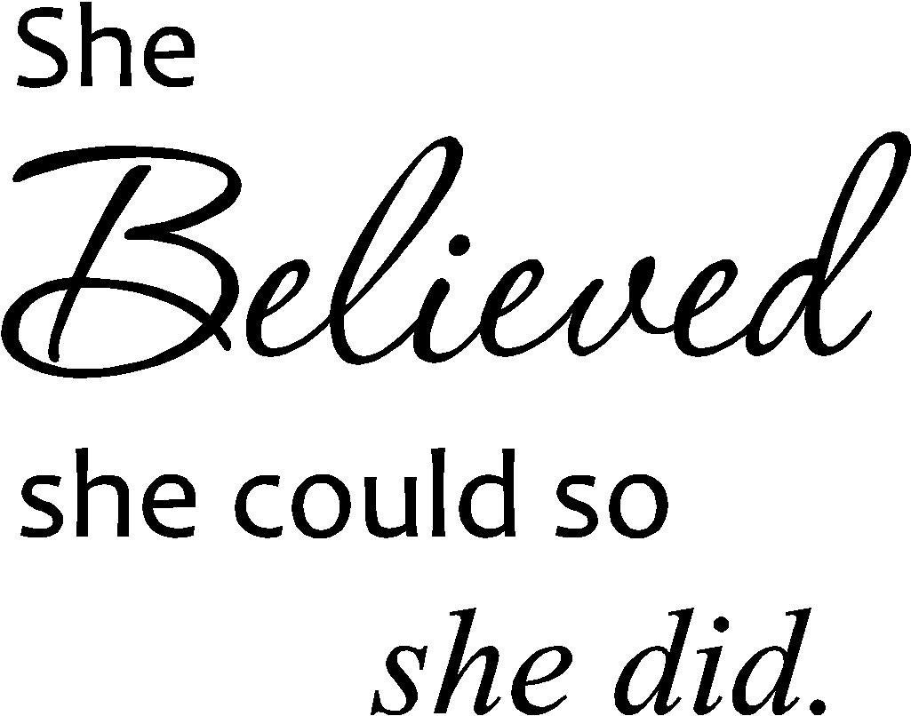 Amazon: She Believed She Could So She Did. Cute Vinyl Wall Art throughout She Believed She Could So She Did Wall Art (Image 1 of 20)
