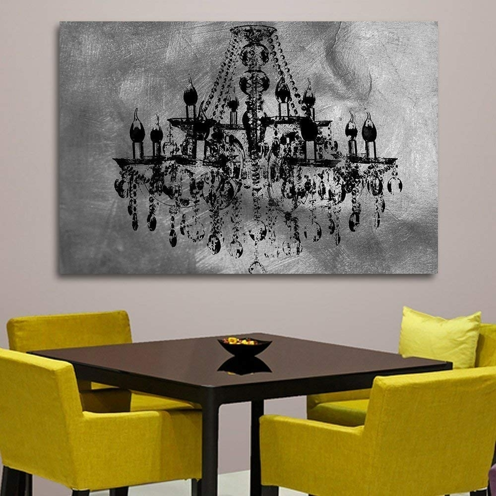 Amazon: Silver Chic Chandelier Wall Decoration Art Decorpiece On For Chandelier Wall Art (View 2 of 20)