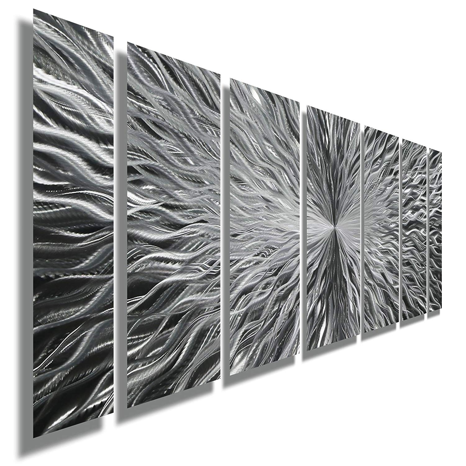 Amazon: Silver Contemporary Metal Wall Art - Abstract Home Decor with Silver Metal Wall Art (Image 2 of 20)