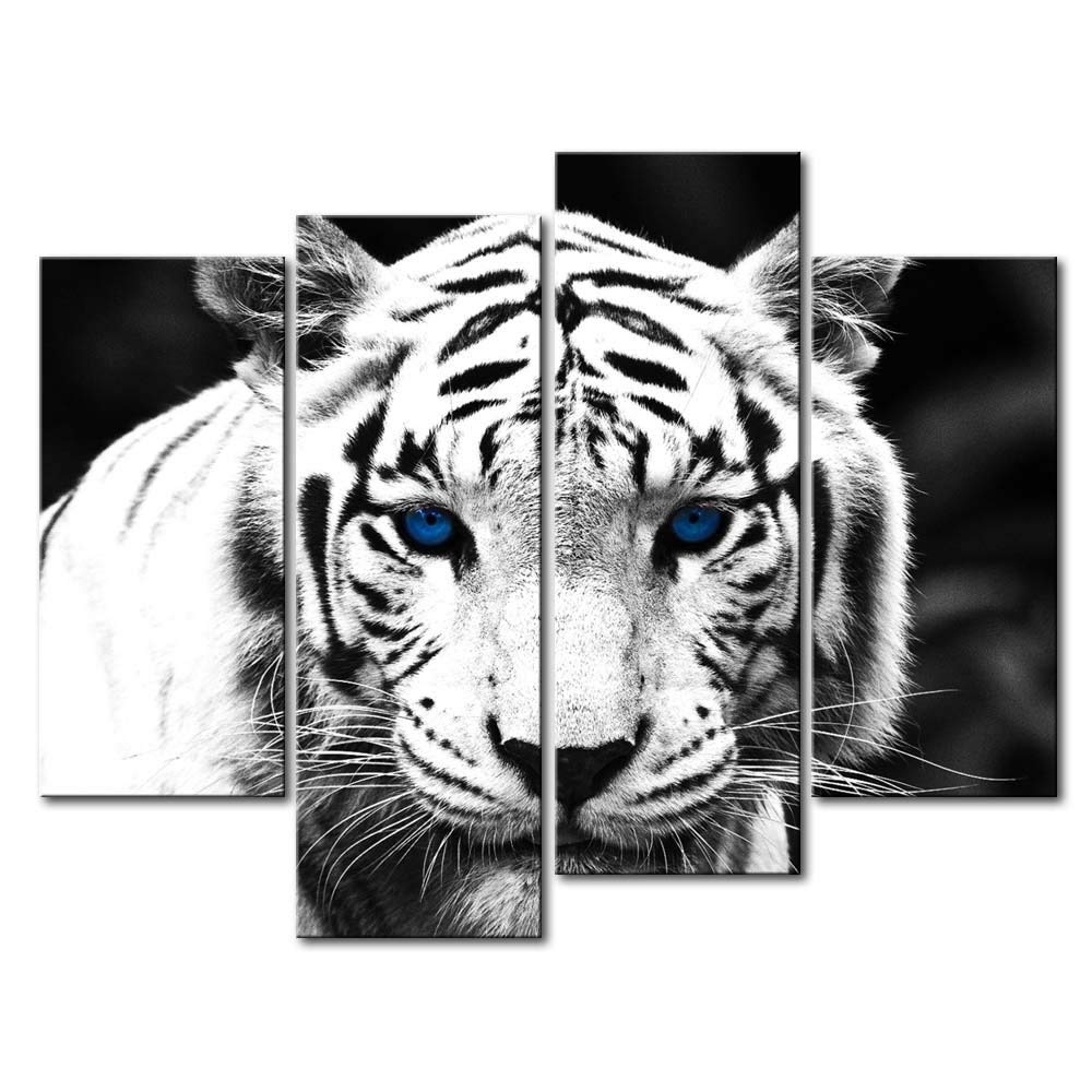Amazon: So Crazy Art Black & White 4 Panel Wall Art Painting for Black and White Wall Art (Image 5 of 20)