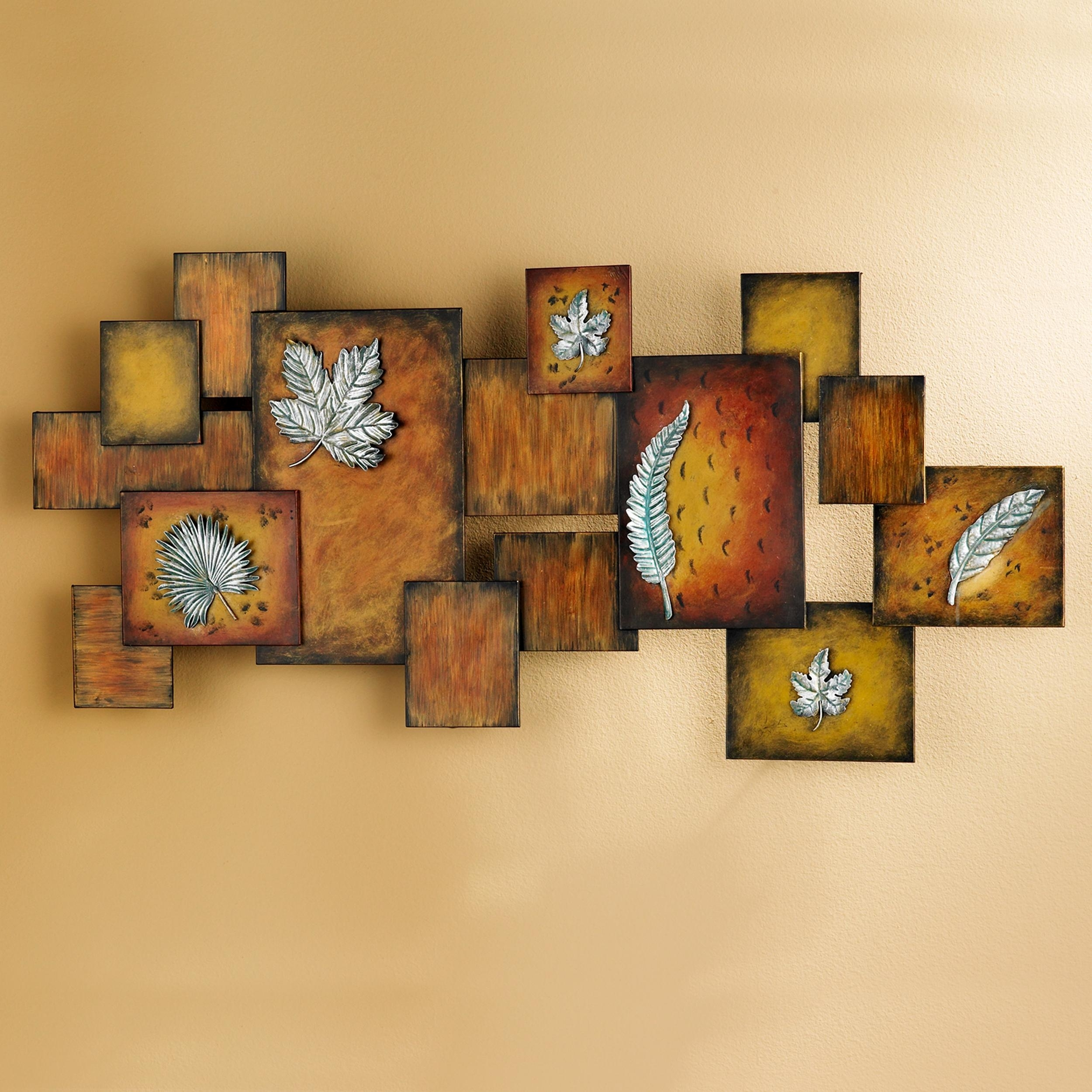 Amazon: Southern Enterprises Faux Fossil Leaves Abstract Wall with Metal Wall Art Panels (Image 4 of 20)