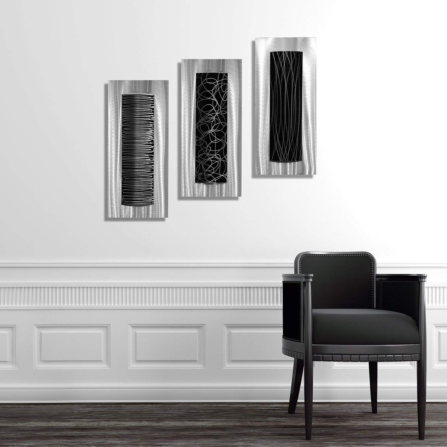 Amazon: Statements2000 Contemporary Black & Silver Abstract intended for Black Wall Art (Image 5 of 20)