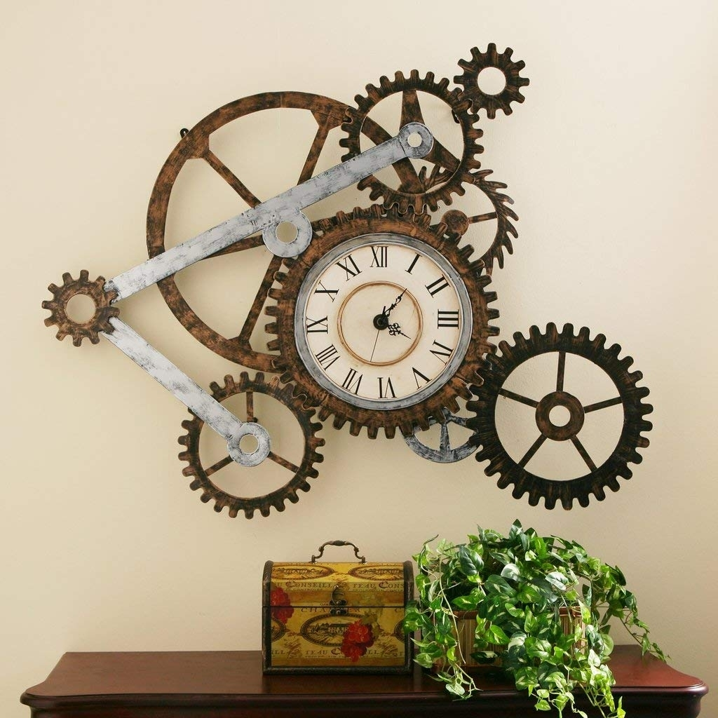 Amazon: Steampunk Wall Art With Clock: Home & Kitchen within Steampunk Wall Art (Image 2 of 20)