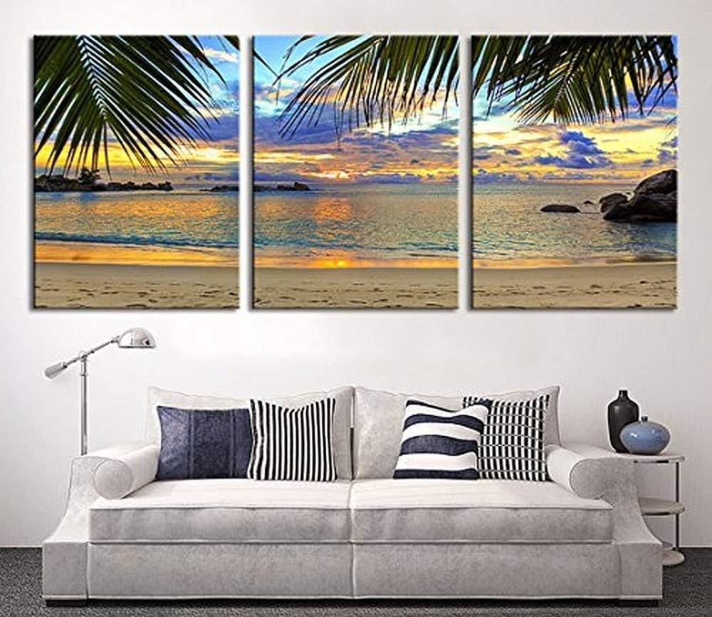 Amazon: Tanda Extra Large Wall Art Palm And Beach Canvas Print 3 intended for Extra Large Wall Art (Image 5 of 20)