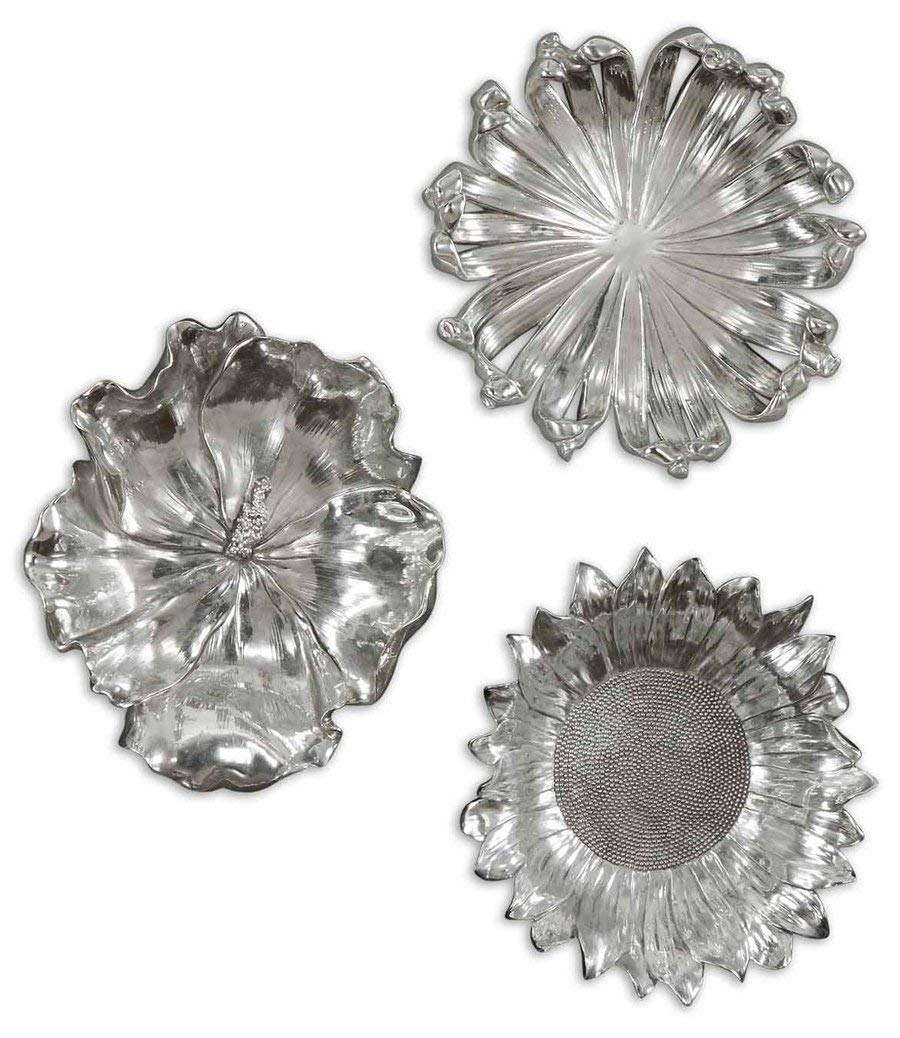Amazon: Uttermost Silver Flowers Home Decor, Set Of 3: Home In Metal Flowers Wall Art (View 18 of 20)