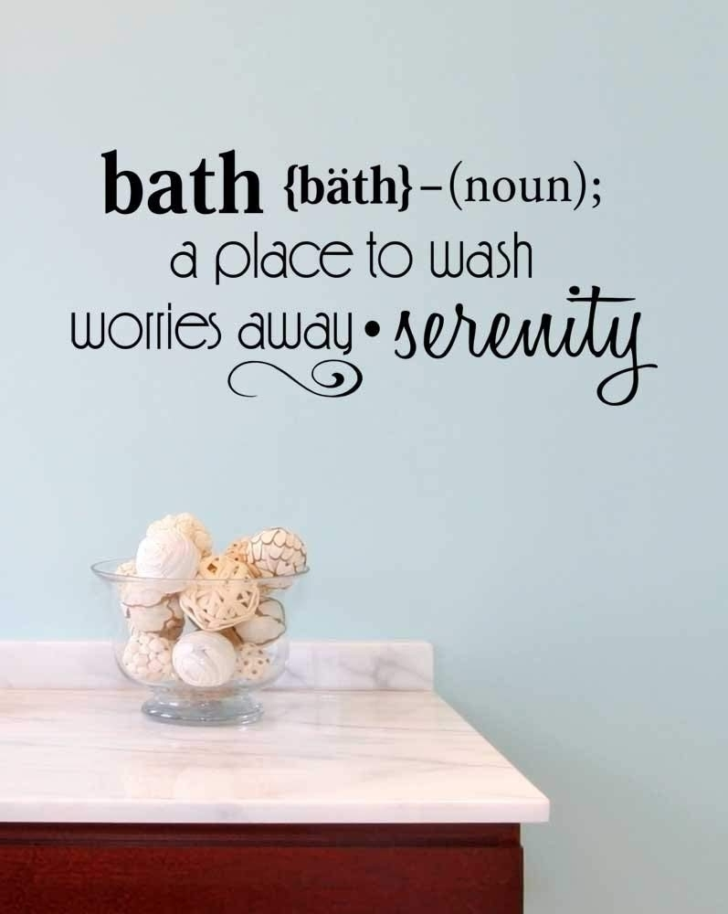 Amazon: Wall Decal Cute Bath A Place To Wash Worries Away Intended For Wall Art Quotes (View 17 of 20)