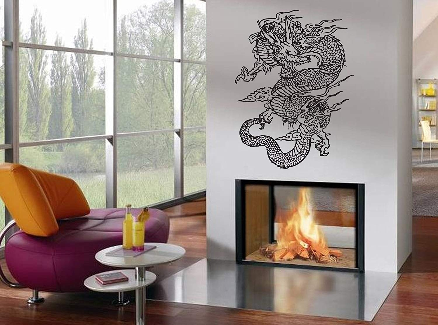 Amazon: Wall Decor Vinyl Decal Sticker Japanese Dragon Tz980 with Japanese Wall Art (Image 3 of 20)