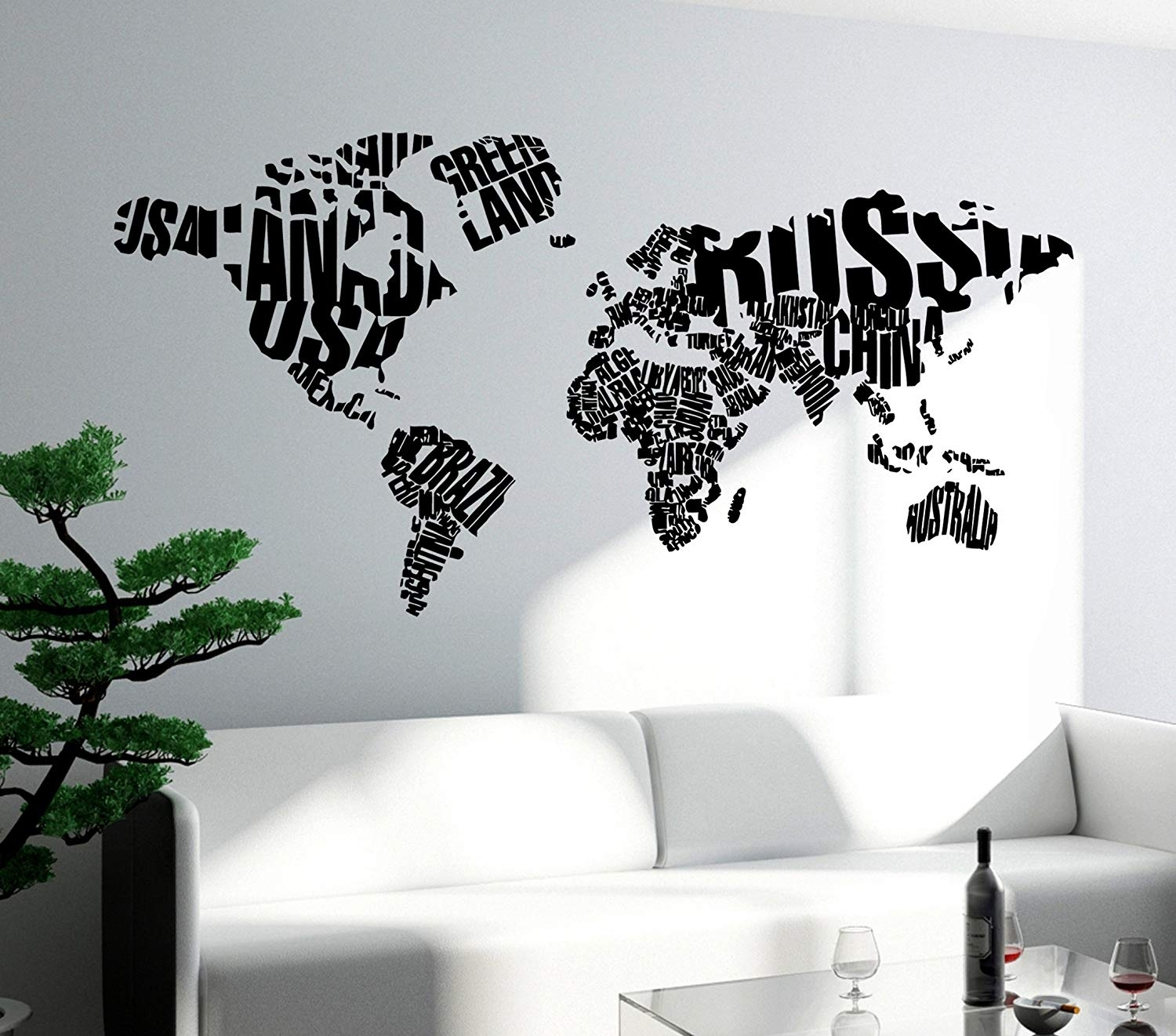 Amazon: Wall Stickers Vinyl Decal World Map With Country Names In Vinyl Wall Art World Map (View 6 of 20)