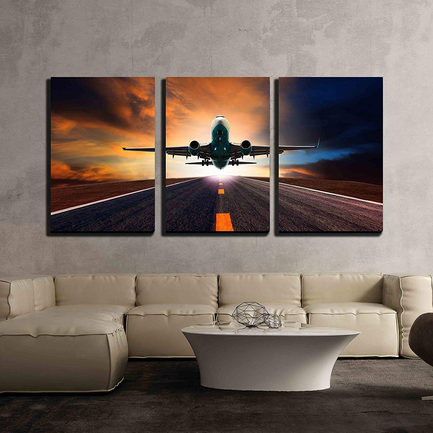 Amazon: Wall26 - 3 Piece Canvas Wall Art - Passenger Jet Plane in Airplane Wall Art (Image 13 of 20)