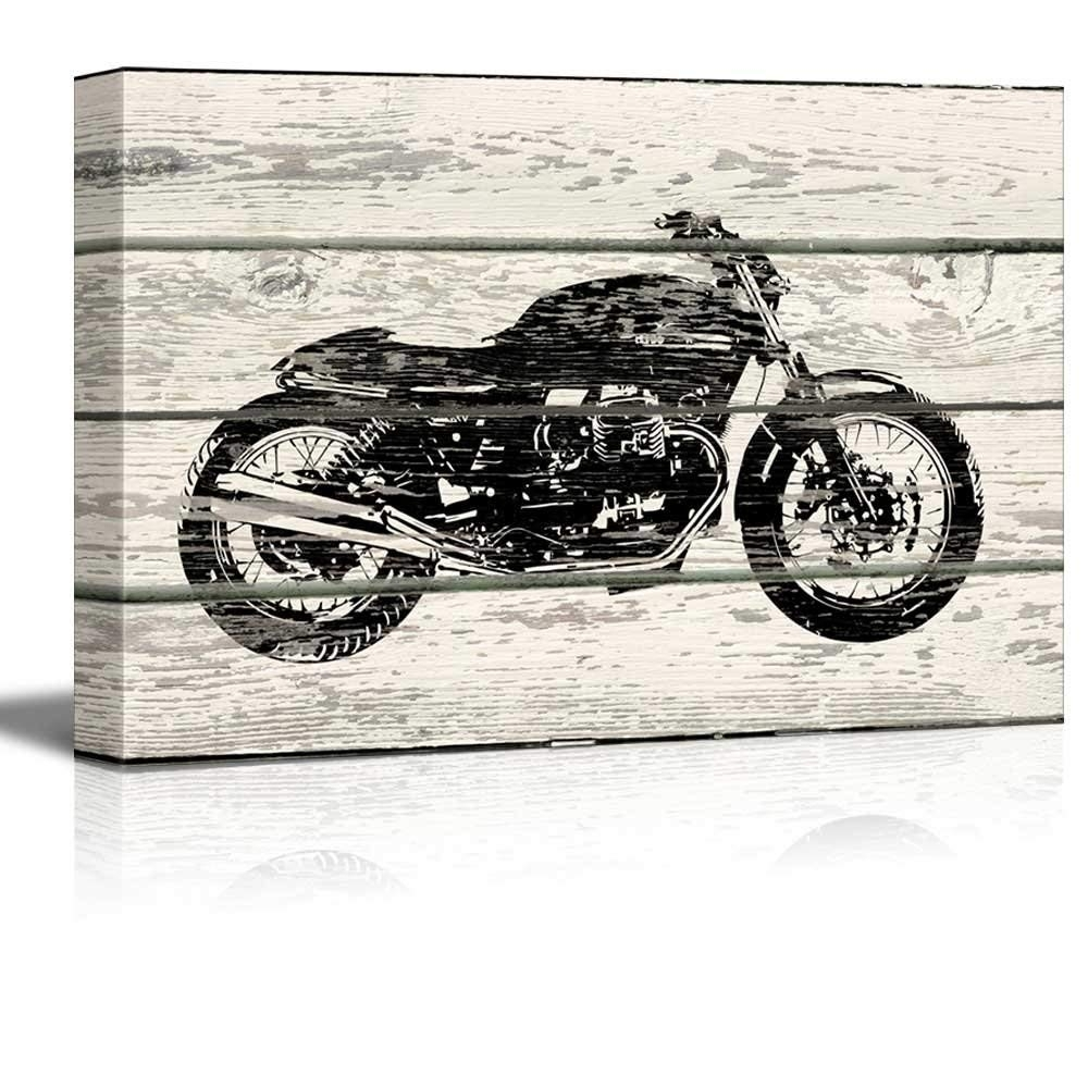 Amazon: Wall26 - Woodcut Stencil Motorcycle Artwork - Rustic within Motorcycle Wall Art (Image 3 of 20)
