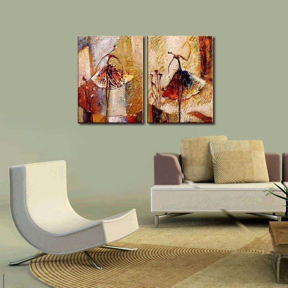 Amazon: Wieco Art Ballet Dancers 2 Piece Modern Decorative regarding Contemporary Wall Art (Image 3 of 20)