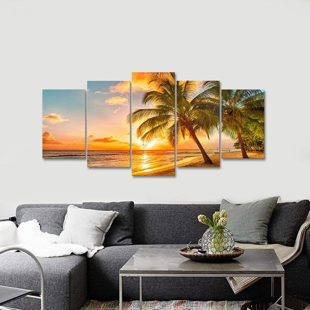 Amazon: Wieco Art Cozy Sea Canvas Prints Wall Art Ocean Beach throughout Modern Canvas Wall Art (Image 10 of 20)