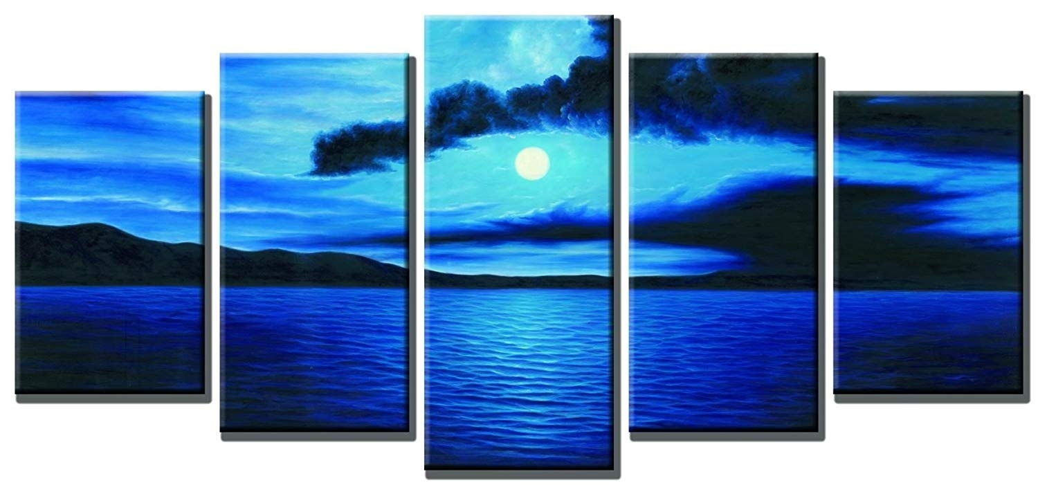 Amazon: Wieco Art Dark Blue Ocean White Sun Modern 5 Piece within 5 Piece Canvas Wall Art (Image 8 of 20)
