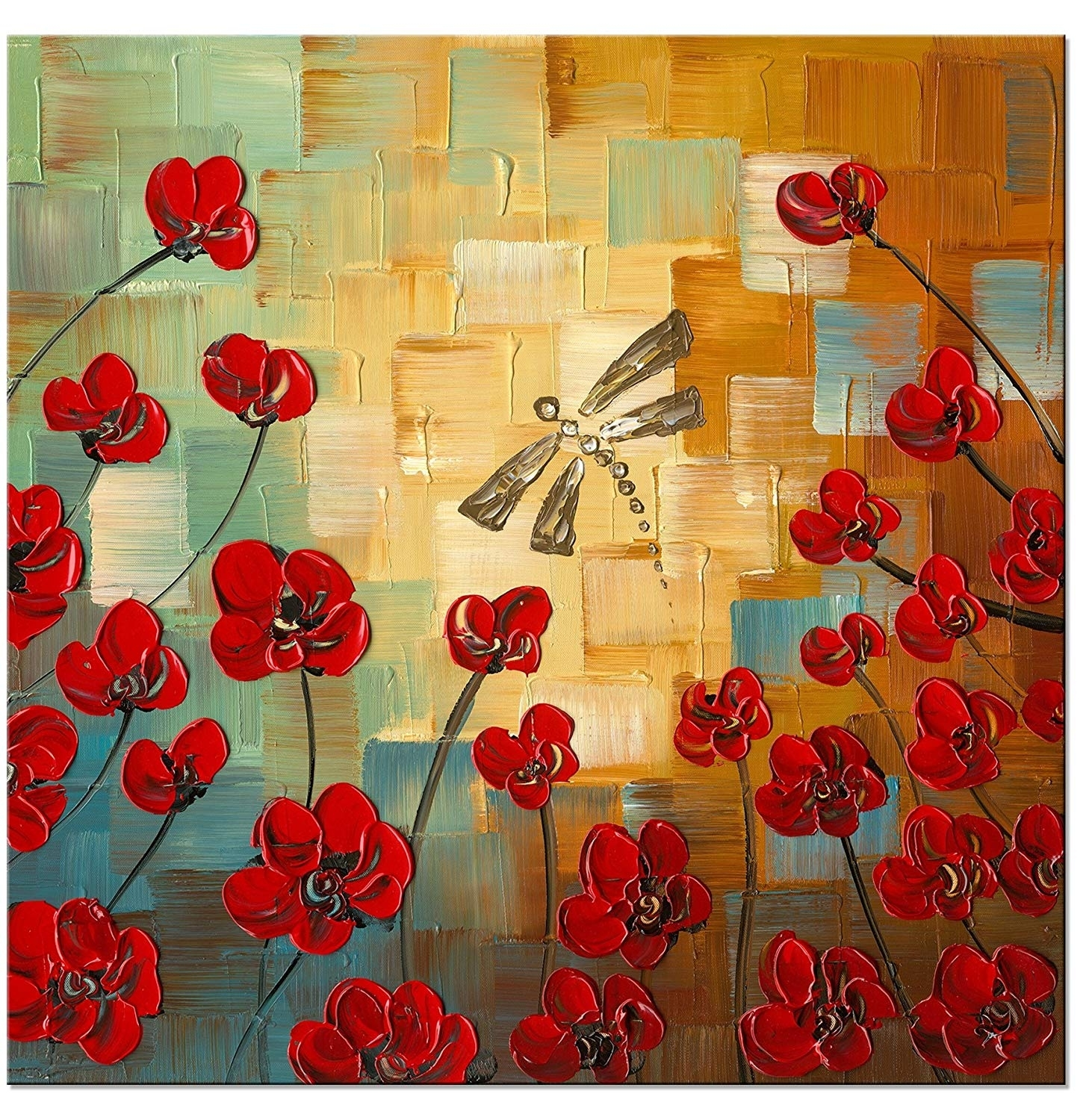 Amazon: Wieco Art Dragonfly Modern Flowers Artwork 100% Hand in Modern Framed Wall Art Canvas (Image 5 of 20)