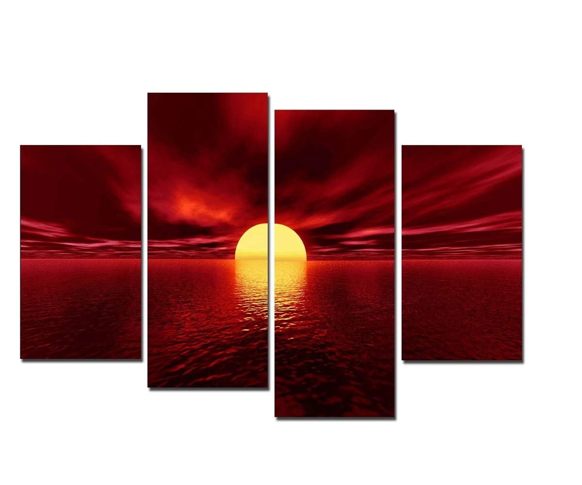 Amazon: Wieco Art Giclee Canvas Prints Wall Art Red Sea Pictures inside Red Canvas Wall Art (Image 7 of 20)