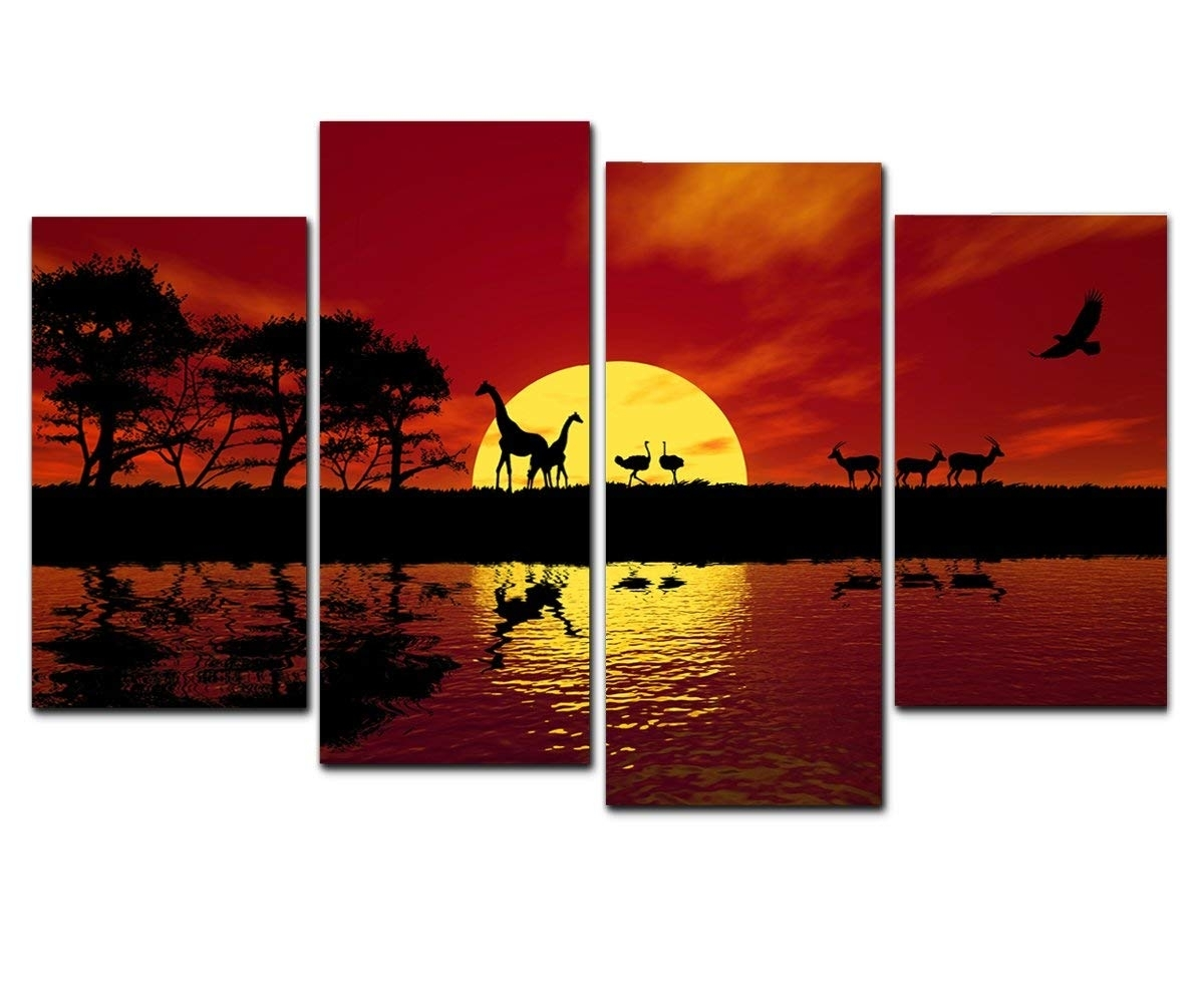 Amazon: Wieco Art Large 4 Panels Sunset African Red Tone Giclee pertaining to Red Canvas Wall Art (Image 8 of 20)