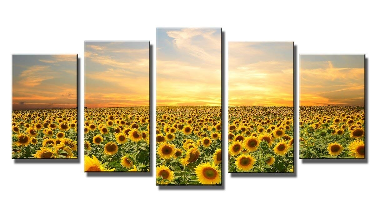Amazon: Wieco Art Sunflowers Canvas Prints Wall Art Landscape for Modern Framed Wall Art Canvas (Image 6 of 20)