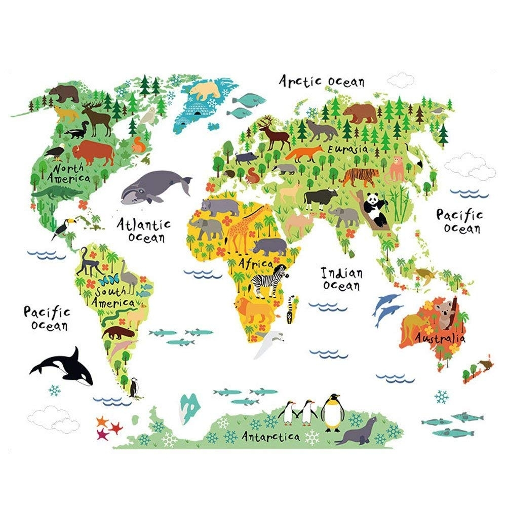 Amazon: Winhappyhome Animal Distribution World Map Removable Throughout Vinyl Wall Art World Map (View 15 of 20)