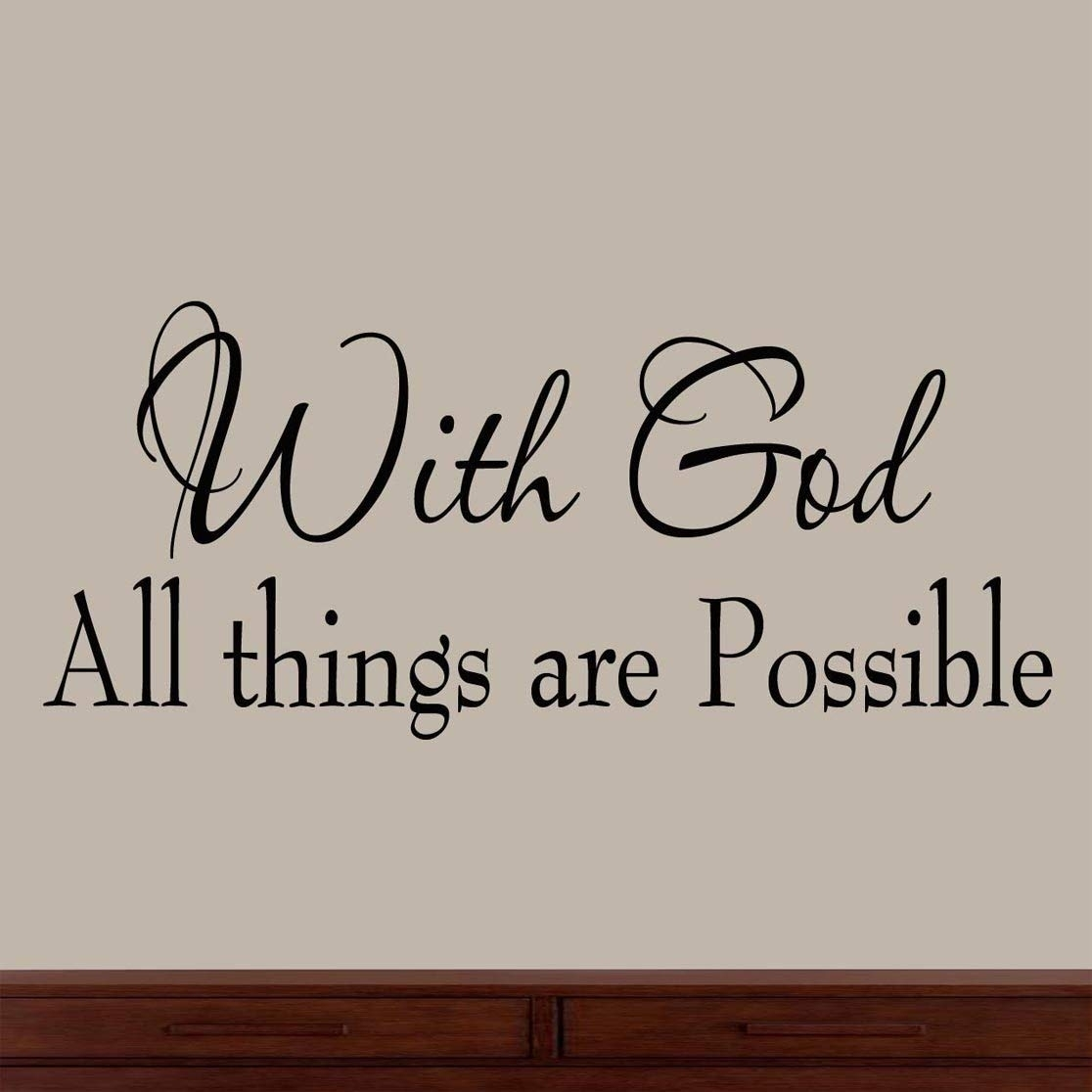 Amazon: With God All Things Are Possible Faith Wall Decals throughout Wall Art Quotes (Image 4 of 20)