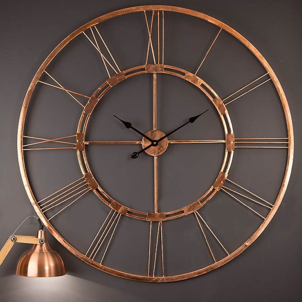 Amazonsmile: Handmade Large Copper Color Metal Wall Clock Metal Wall with Copper Wall Art (Image 2 of 20)