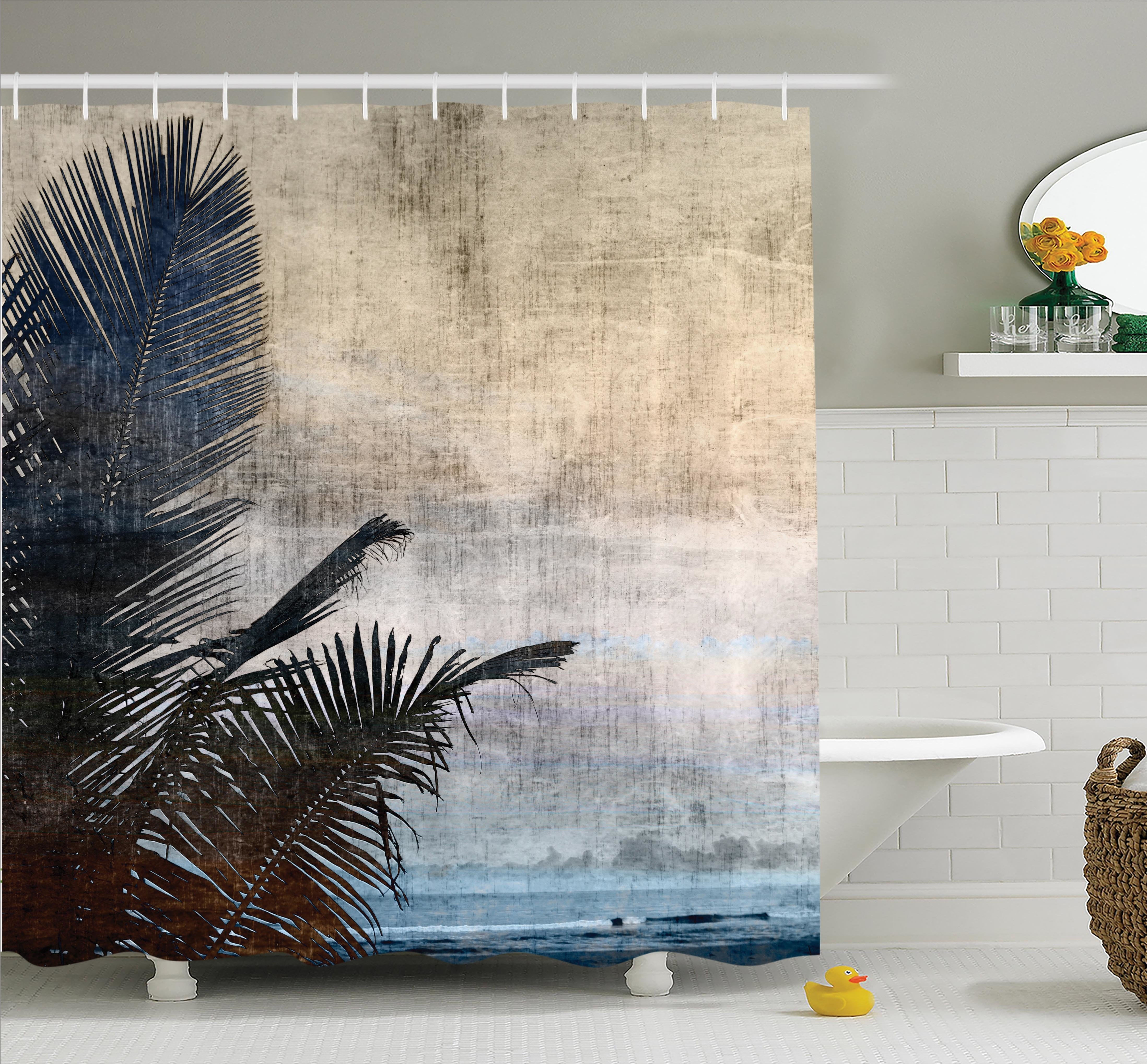 Ambesonne Tropical Grunge Palm Trees Art Shower Curtain Set intended for Shower Curtain Wall Art (Image 3 of 20)