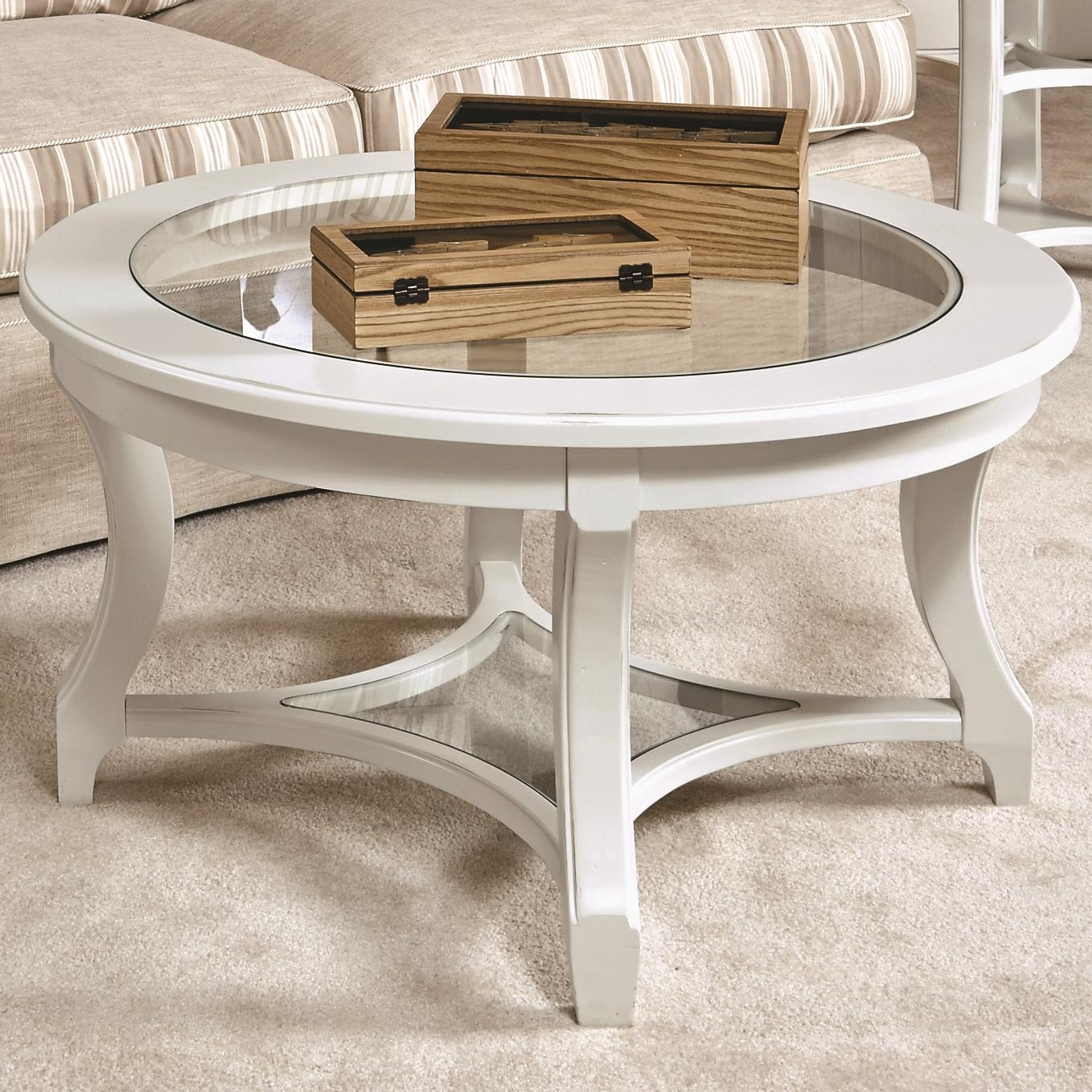 American Drew Lynn Haven Round Glass Cocktail Table With Lower Glass with regard to Haven Coffee Tables (Image 2 of 30)