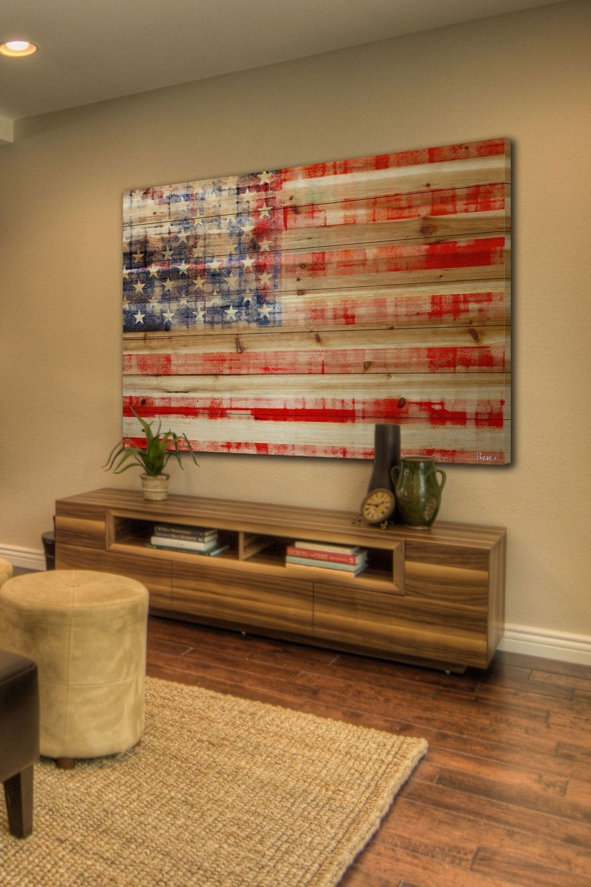 American Flag Brown Distressed Wood Wall Artmarmont Hill Inc. On in American Flag Wall Art (Image 3 of 20)