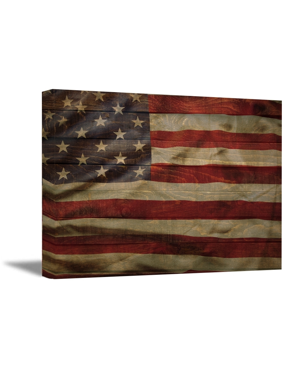 American Flag Canvas Art Retro Rustic Style Usa Art American Flag Throughout Rustic American Flag Wall Art (View 6 of 20)