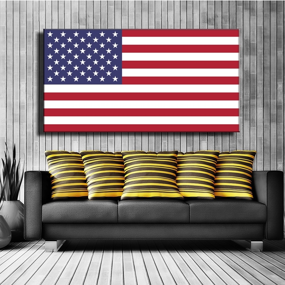 American Flag Canvas Print Painting Poster Wall Art Picture For intended for American Flag Wall Art (Image 4 of 20)