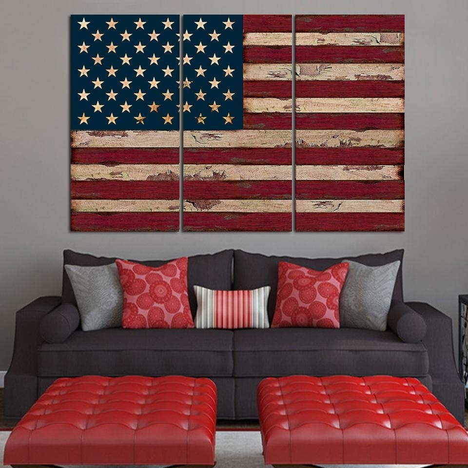 American Flag Wall Art Canvas Combine With Dark Grey Sofa And Red within Vintage American Flag Wall Art (Image 2 of 20)