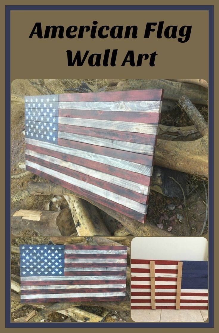 American Flag Wall Art. Wood American Flag. Wood Flag (View 12 of 20)