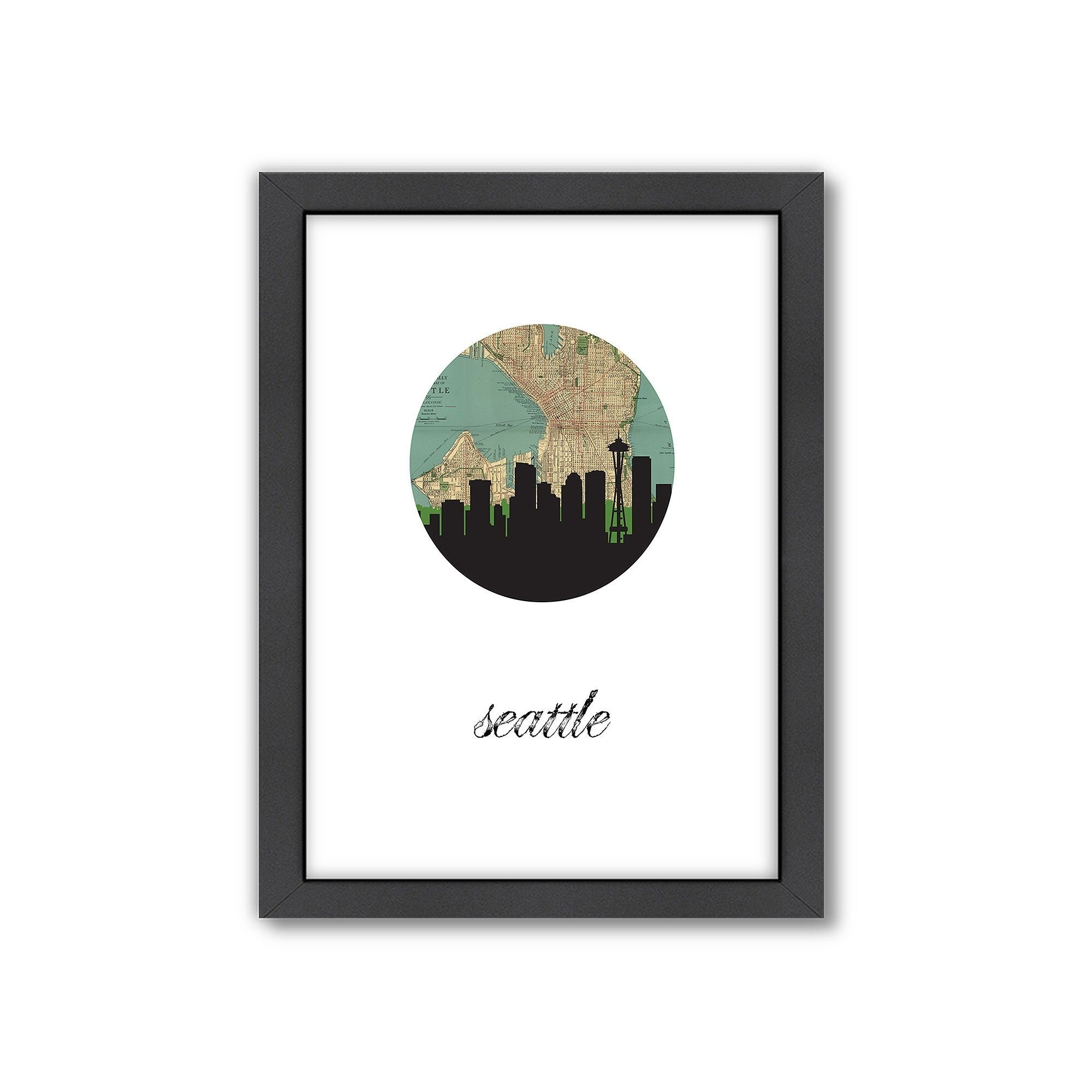 Americanflat Seattle Map Skyline Framed Wall Art, Multicolor With Regard To Seattle Map Wall Art (View 6 of 20)