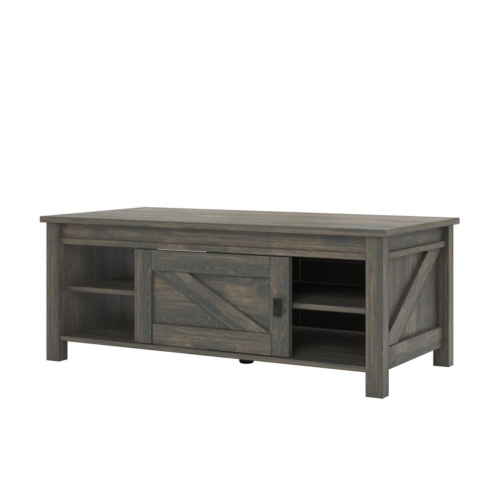 Ameriwood Home Brownwood Weathered Oak Storage Coffee Table-Hd72004 with regard to Chiseled Edge Coffee Tables (Image 1 of 30)